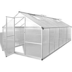Vidaxl szklarnia, wzmocniona rama podstawy, aluminium, 10,53 m²