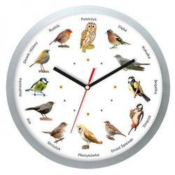 Zegar z głosami ptaków plastik srebrny #2, kolor szary