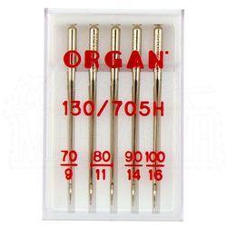 Igły Organ uniwersalne do tkanin, 5szt. 1x70, 2x80, 1x90, 1x100