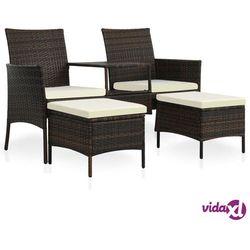 Vidaxl 2-os. sofa ogrodowa ze stolikiem i podnóżkami, rattan pe, brąz (8718475697244)