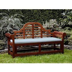 Beliani Ławka ogrodowa drewniana 180 cm poducha jasnoniebieska toscana marlboro