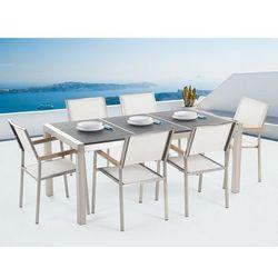 Zestaw ogrodowy naturalny kamień 180 cm 6-osobowy krzesła białe GROSSETO (4260580937097)