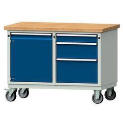 Kompaktowy stół warsztatowy, blat z litego drewna bukowego,szer. x głęb. 1140 x 650 mm, 1 szafa, 3 szuflad
