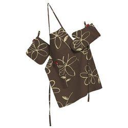 Dekoria Komplet kuchenny fartuch,rękawica i łapacz, na brązowym tle kremowe kwiaty, kpl, Flowers - produkt z kategorii- Fartuchy kuchenne