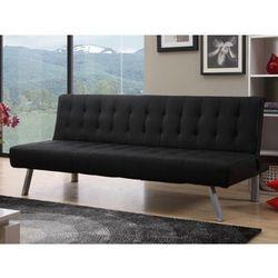 Rozkładana kanapa GUILLAUME z materiału skóropodobnego - Kolor: czarny