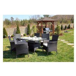 Meble ogrodowe rattanowe TRAPANI czarne 7-częściowe - produkt z kategorii- Pozostałe meble ogrodowe
