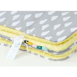 Mamo-tato komplet kocyk minky do wózka + poduszka chmurki białe na szarym / żółty