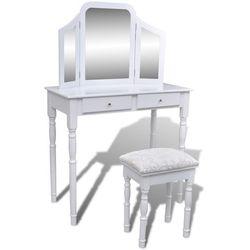 Vidaxl  biała toaletka z lustrem 3w1, taboretem i dwiema szufladami (8718475873808)