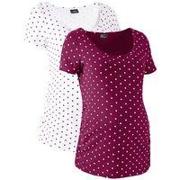 Shirt ciążowy z krótkim rękawem (2 szt.), bawełna organiczna  jeżynowo-biały w groszki, Bonprix, 48-54