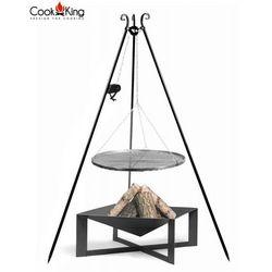 Cook&king Zestaw 3w1, grill z kołowrotkiem stal czarna 60cm + palenisko cuba 70x70 cm