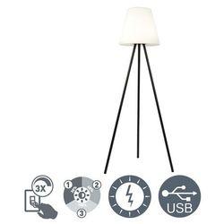 Nowoczesna solarna lampa stojąca trójnóg czarna klosz biały led ip44 - virginia marki Qazqa
