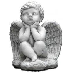 Figura ogrodowa betonowa zamyślony aniołek 24cm