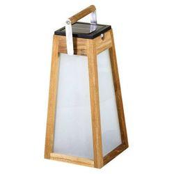 TINKA TECKA - Lampa zewnętrzna latarnia LED akumulatorowa & słoneczna Tek naturalny Wys.39cm