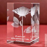 Efektowana róża 3D z Twoją osobistą dedykacją w krysztale