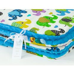 Mamo-tato komplet kocyk minky 75x100 + poduszka słoniaki zielone / niebieski