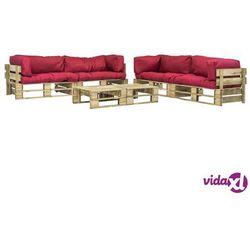 vidaXL Ogrodowe meble z palet, 6 szt., drewno FSC + czerwone poduszki (8718475715801)