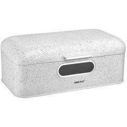 Kinghoff Chlebak /pojemnik na chleb kuferek z szybką siwy marmur