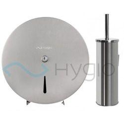 pojemnik (dystrybutor) na papier toaletowy jumbo mini i szczotka wc zawieszana stal szczotkowana mat marki Hygio