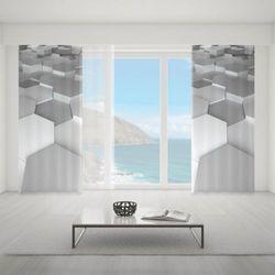Zasłona okienna na wymiar - WHITE RHOMBES 3D