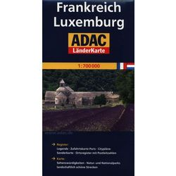 ADAC Frankreich Luxemburg mapa drogowa 1:700 000 (Daunpol)