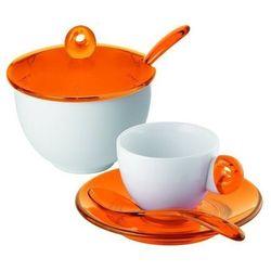 - komplet 2 filiżanek do espresso i cukiernica - art & cafe - pomarańczowe marki Guzzini