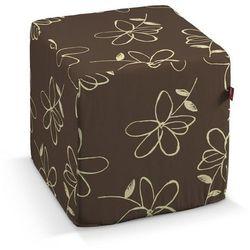 Dekoria Pufa kostka twarda, na brązowym tle kremowe kwiaty, 40x40x40 cm, Flowers