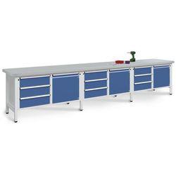 Stół warsztatowy, bardzo szeroki,3 drzwi, 9 szuflad z częściowym wysunięciem marki Unbekannt