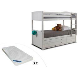 Łóżko piętrowe ANCHISE z możliwością rozdzielenia - 90 × 190 cm - Z półkami - Lakierowane na biało + materac ZEUS 90 × 190 cm