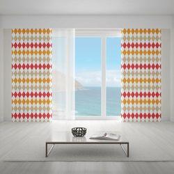 Zasłona okienna na wymiar - OLD-TIME RHOMBOIDS RED