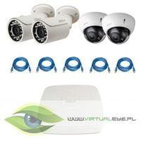 """Zestaw do Monitoringu """"Dahua 1.3MP PoE"""". 2 x Kamera IPC-HFW1120S-0360B, 2 x Kamera IPC-HDBW2100R-Z, Re"""