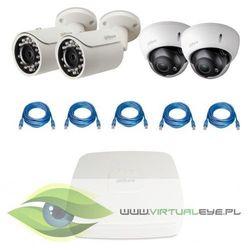 """Zestawy do Monitoringu """"Dahua 1.3MP PoE"""". 2 x Kamera IPC-HFW1120S-0360B, 2 x Kamera IPC-HDBW2100R-Z, Rejestrator PoE DAHUA DHI-NVR1104P, skrętka - sprawdź w wybranym sklepie"""