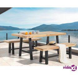 Beliani Meble ogrodowe czarno-brązowe - ogród - stół z 2 ławkami - SCANIA
