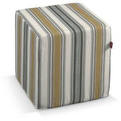pokrowiec na pufę kostke, szaro-oliwkowe pasy, kostka 40x40x40 cm, londres marki Dekoria