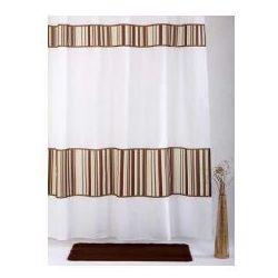 Zasłonka prysznicowa tekstylna biały+ brąz Bamboo, 01583