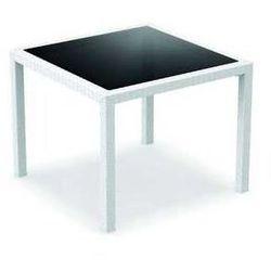 Stół rattanowy do ogrodu 94x94cm Siesta Bali biały