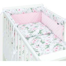 3-el pościel do łóżeczka 70x140 velvet pik - różany ogród / jasny róż marki Mamo-tato