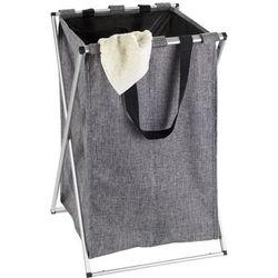 Składany kosz na pranie, szary, 52 litry, zamykany, aluminiowy stelaż, torba wykonana z poliestru, wymiary 35x57x38 cm