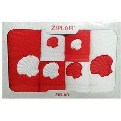KOMPLET ręczników 6 szt. ZIPLAR czerwony/biały, ZR02-2-12