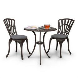 Blumfeldt Valetta zestaw mebli bistro 3-częściowy stół 2 krzesła ciśnieniowy odlew aluminiowy tapicerowane siedziska