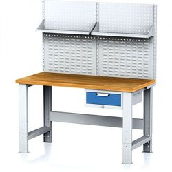 Stół warsztatowy mechanic z nadstawką i półką, 1500x700x700-1055 mm, nogi regulowane, 1x 1 szufladowy kontener, szary/niebieski marki B2b partner
