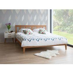 Łóżko jasnobrązowe - 180x200 cm - drewniane - ze stelażem - caen marki Beliani
