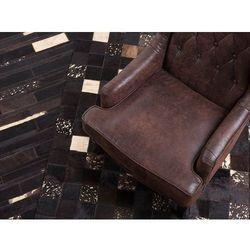 Dywan - brązowy - skóra - patchwork - 160x230 cm - bandirma marki Beliani