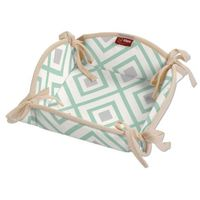 koszyk na pieczywo, szaro- miętowe rąby na białym tle, 20x20 cm, geometric marki Dekoria