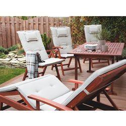 Krzesło ogrodowe drewniane poducha szaro-beżowa TOSCANA (4260586359442)