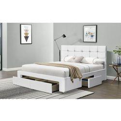 Meblemwm Łóżko tapicerowane do sypialni 120x200 sf921 biały