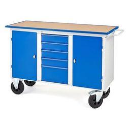Mobilny stół wasztatowy FLEX, 2 szafki, 5 szuflad, 1435x590x900 mm, 210645