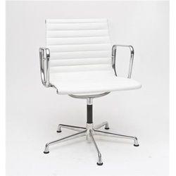Fotel konferencyjny ch1081 inspirowany ea108 skóra, chrom - biały marki D2.design