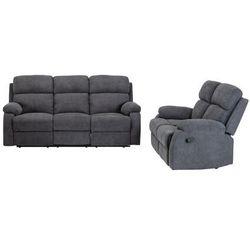 Vente-unique Sofa 3+2-osobowa tolzano z tkaniny, z manualną funkcją relaksu – kolor antracytowy