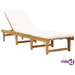 vidaXL Składany leżak z poduszką, lite drewno akacjowe (8719883732350)