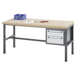Stół warsztatowy z płytą mdf, 2 szuflady, wys. 1x150, 1x180 mm, wys. x szer. x g marki Unbekannt